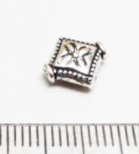 8 Tibetan Style Silver Diamond spacer beads. 10mmx3mm.